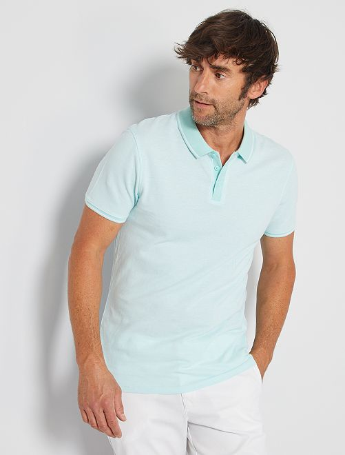Polo slim de piqué bicolor                                                     BLANCO