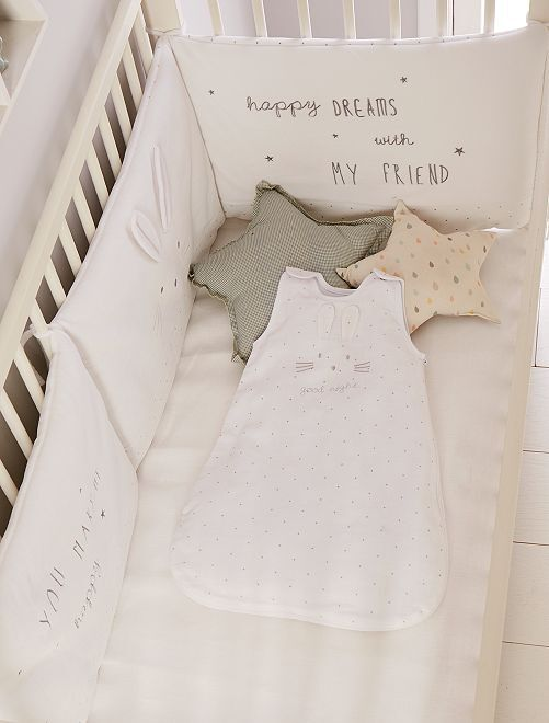 Protector de cuna de terciopelo 'conejo'                             BLANCO Bebé niña