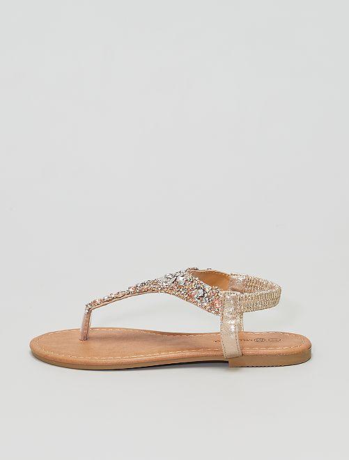 Sandalias abiertas con separación de dedo                             oro
