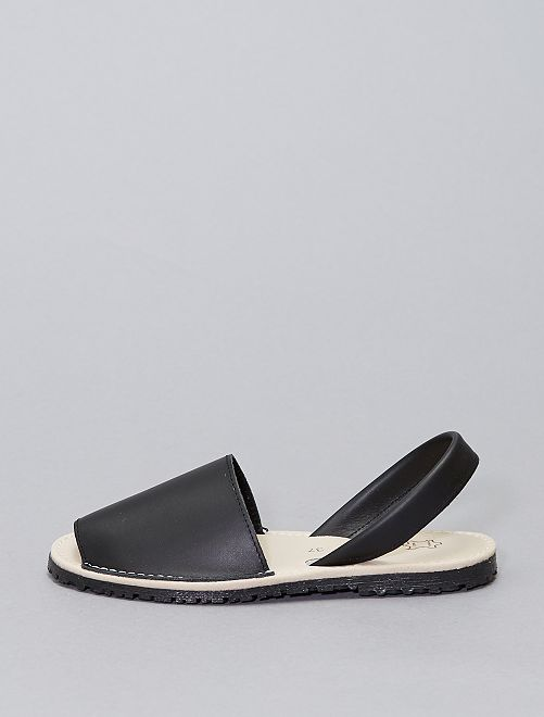 Sandalias abiertas de piel                             negro