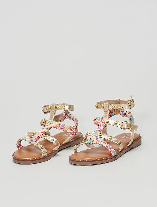 Sandalias altas de tejido multicolor                             oro