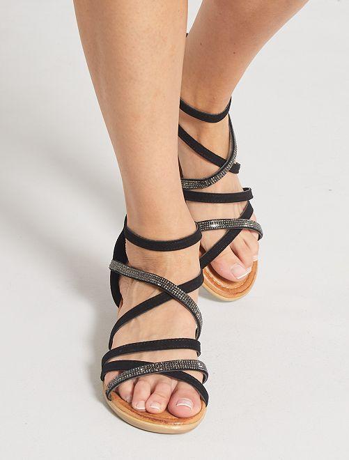 Sandalias altas planas de antelina                             negro