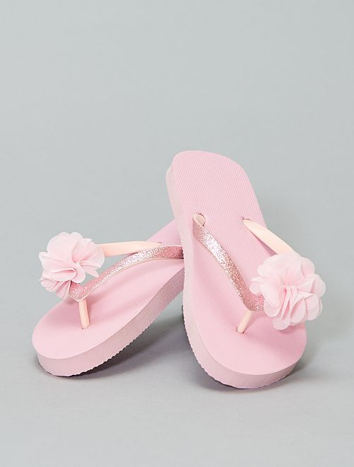 Sandalias anatómicas con estampado de flores                             rosa Zapatos