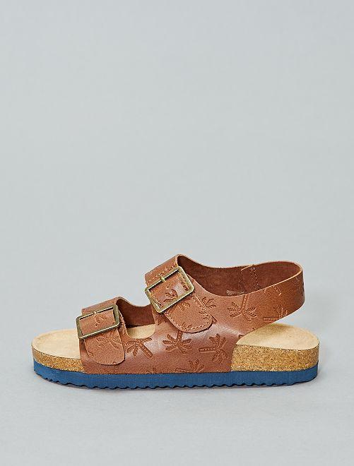 Sandalias brillantes de estilo guepardo                             MARRON
