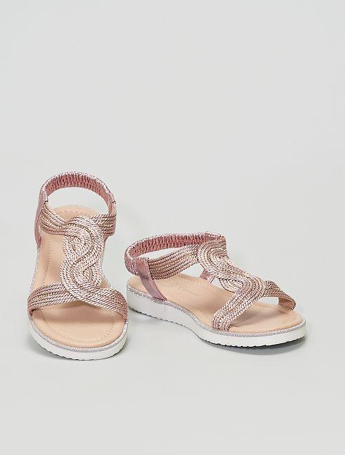 Sandalias cobrizas con strass                             ROSA