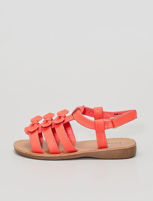 Sandalias con 3 lazos                             ROSA