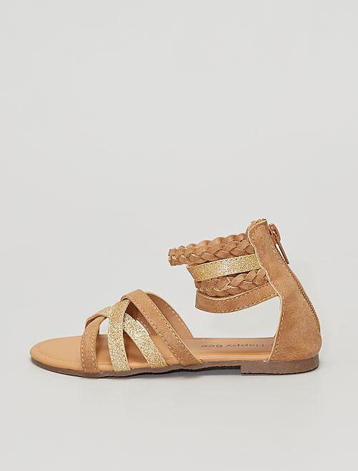 Sandalias con brillos dorados                             castaño
