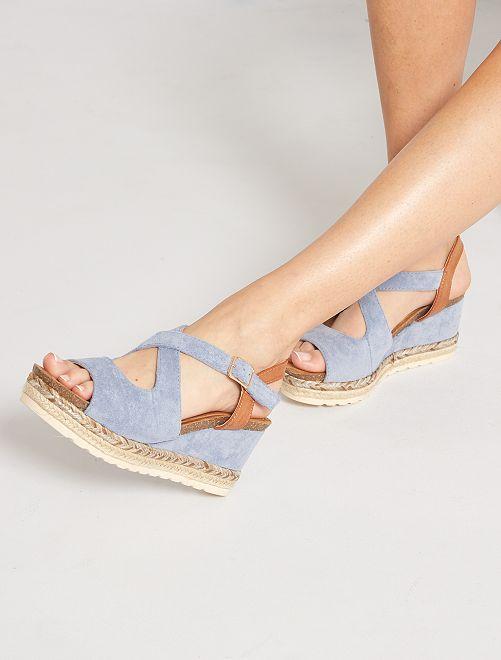 Sandalias con cuña                                                     azul