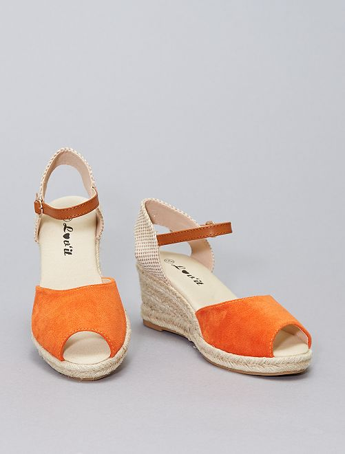 Sandalias con cuña de esparto                             naranja