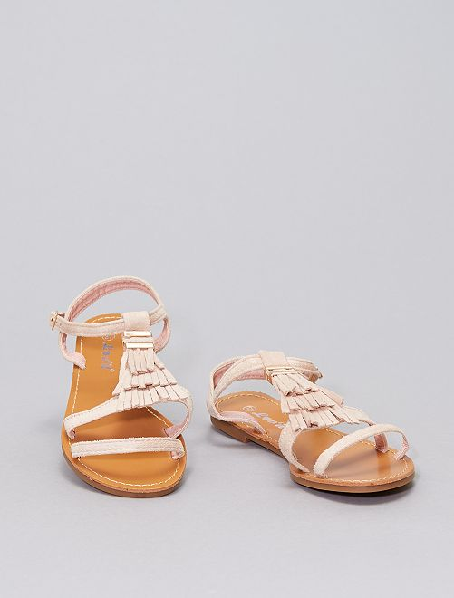 Sandalias con flecos                                                     BEIGE