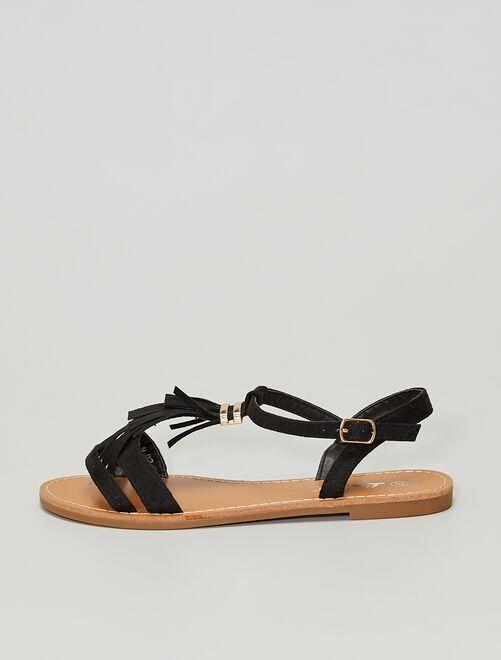 Sandalias con flecos                                                                 NEGRO
