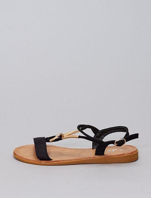 Sandalias con pedrería                                                     NEGRO
