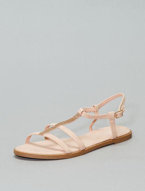 Sandalias con pedrería                                         rosa Zapatos