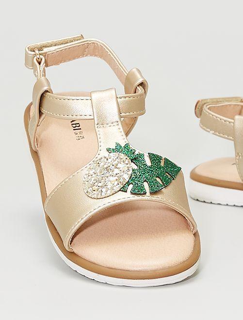 Sandalias con 'piñas' de strass                             oro