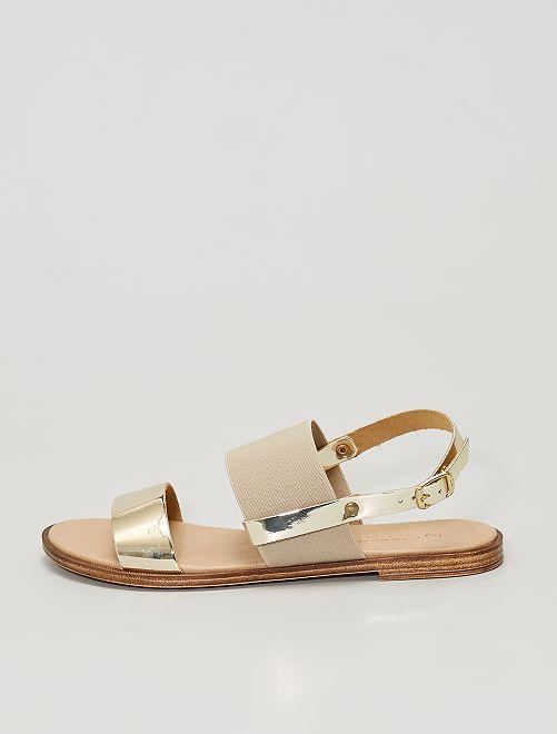 Sandalias con plantilla de piel                             oro