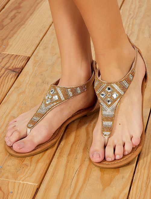 Sandalias con strass                             oro
