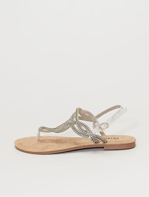 Sandalias con strass                             plata
