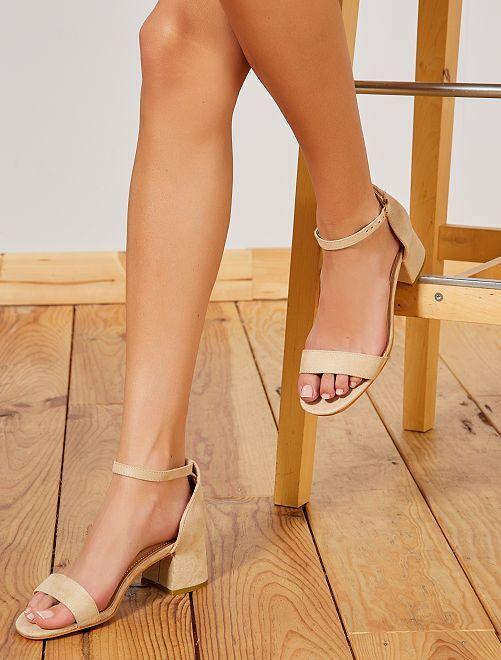 Sandalias con tacón cuadrado                     BEIGE Zapatos