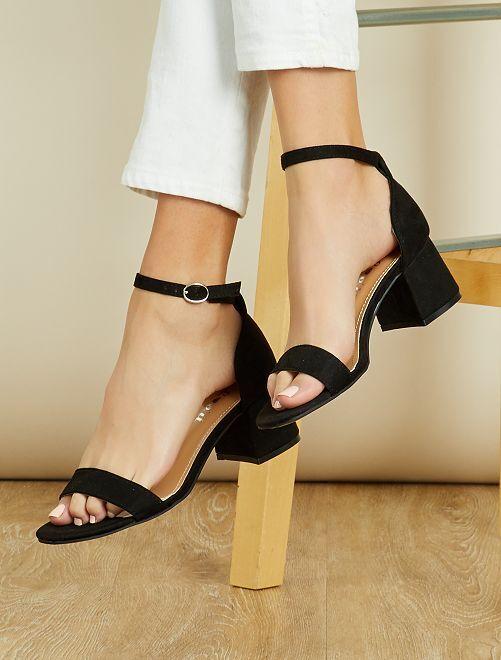 Sandalias con tacón cuadrado                                 negro Zapatos