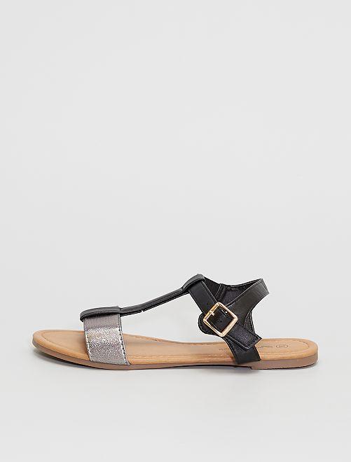 Sandalias con tiras plateadas                             NEGRO