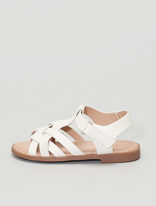 Sandalias con velcro                                         blanco