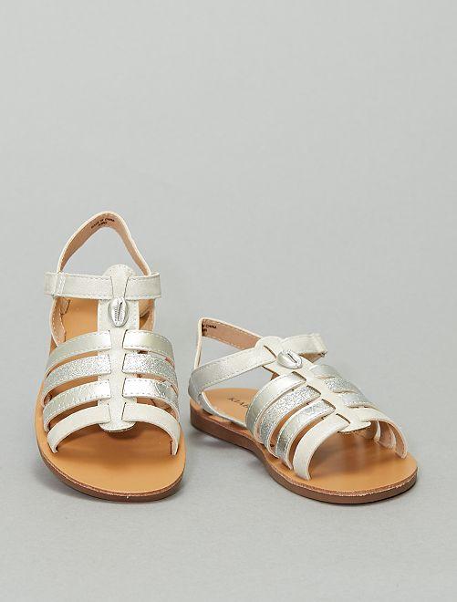 Sandalias con velcro                                         plata