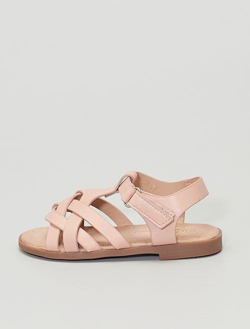 Sandalias con velcro                                         ROSA