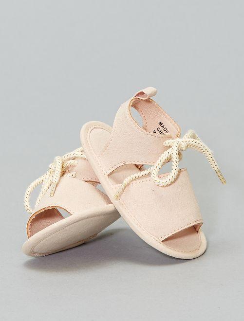 Sandalias de antelina                             beige rosado Bebé niña