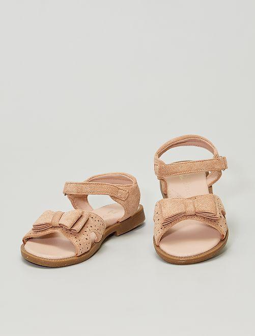 Sandalias de antelina brillantes                             beige oscuro