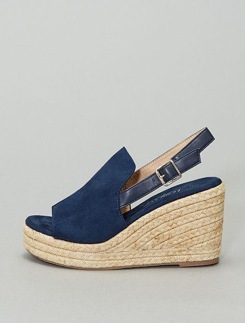 Sandalias de antelina con cuña                             azul