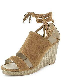 Zapatos mujer - Sandalias de antelina con cuña