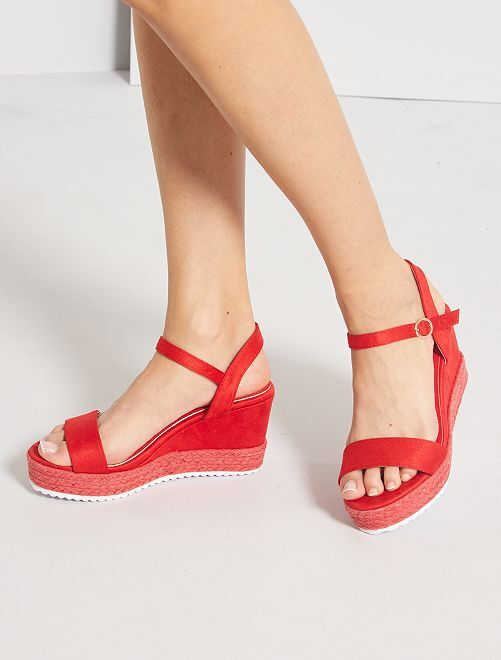 Sandalias de antelina con cuña                             rojo