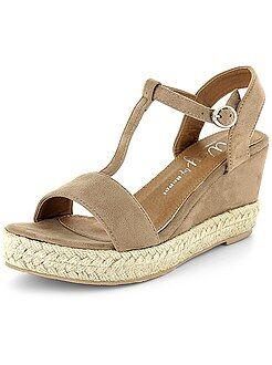 Zapatos mujer - Sandalias de antelina con cuña - Kiabi