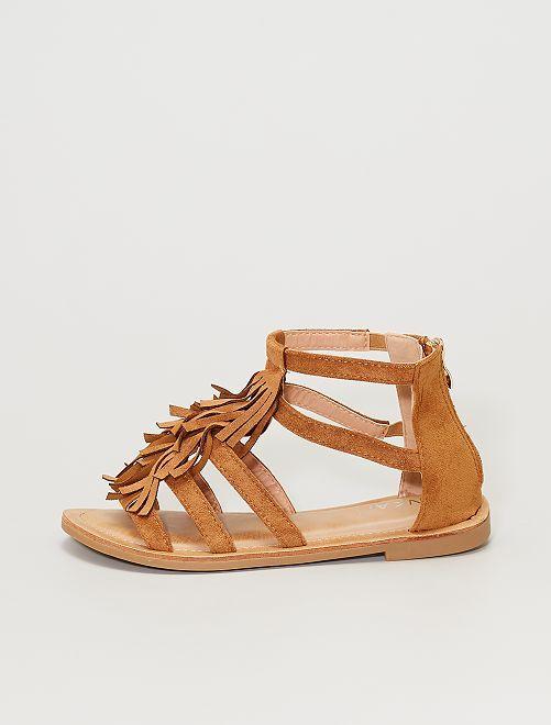 Sandalias de antelina con flecos                                         camello