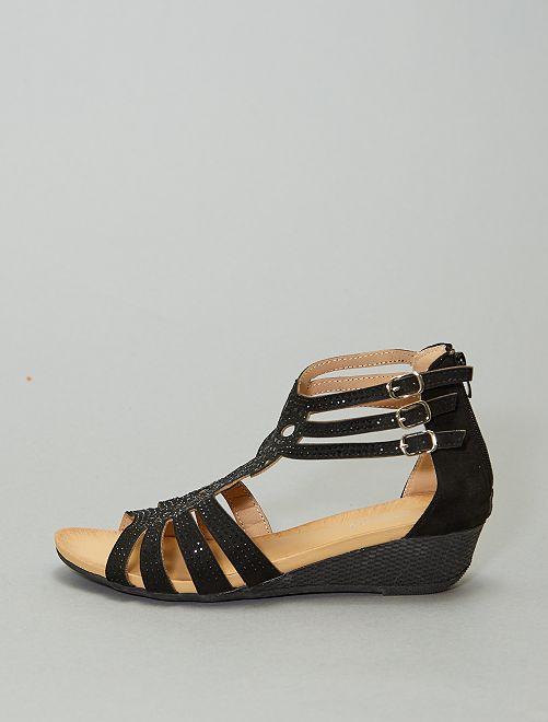 Sandalias de antelina con pedrería all-over                             negro