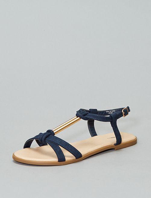 Sandalias de antelina con pedrería                                         azul