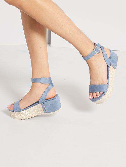 Sandalias de antelina con plataforma                                         azul