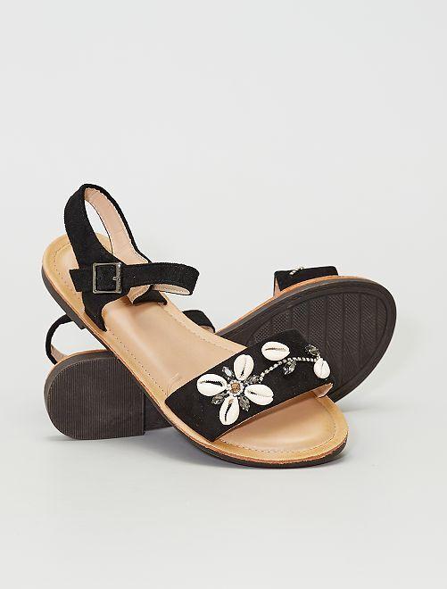 Sandalias de antelina 'conchas'                             NEGRO