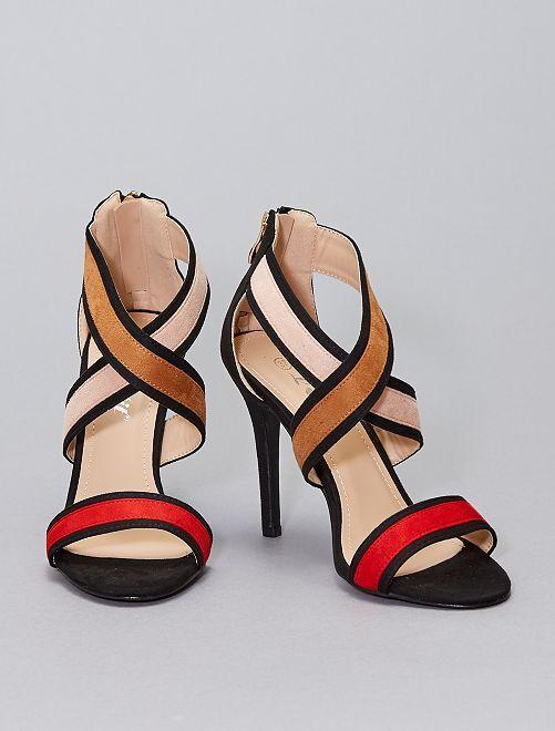 Sandalias de antelina de tacón                                         ROJO