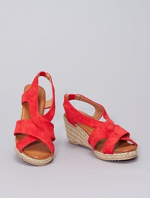Sandalias de antelina                                         rojo