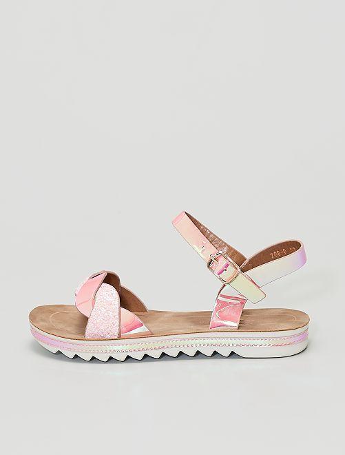 Sandalias de charol con lentejuelas brillantes                             ROSA