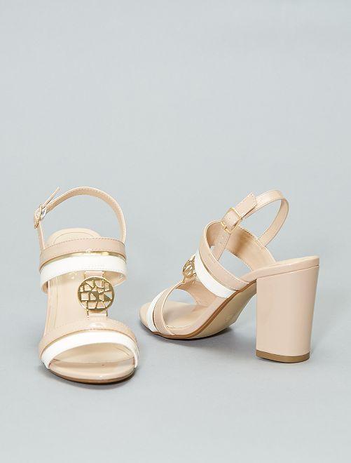 Sandalias de charol con tacón                             BEIGE Zapatos