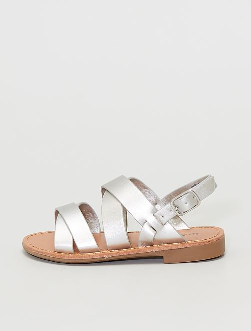 Sandalias de charol                                         plata