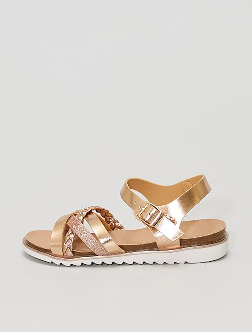 Sandalias de color cobre con tiras                             beige oscuro