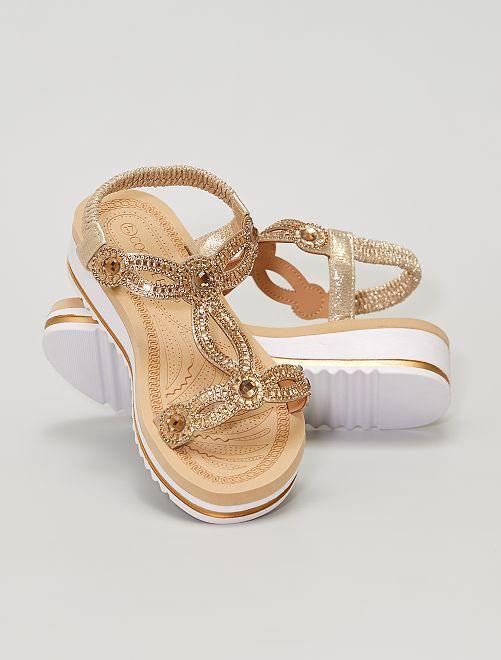 Sandalias de cuña con strass                             dorado