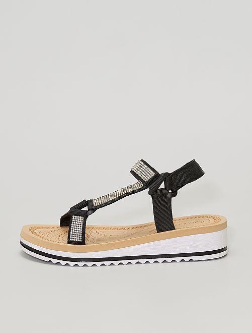 Sandalias de cuña con strass                             negro