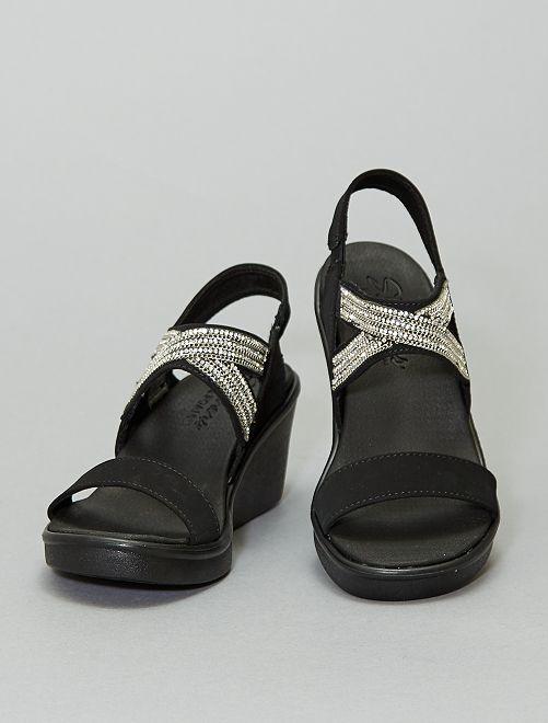 Sandalias de cuña con strass 'Skechers'                             negro