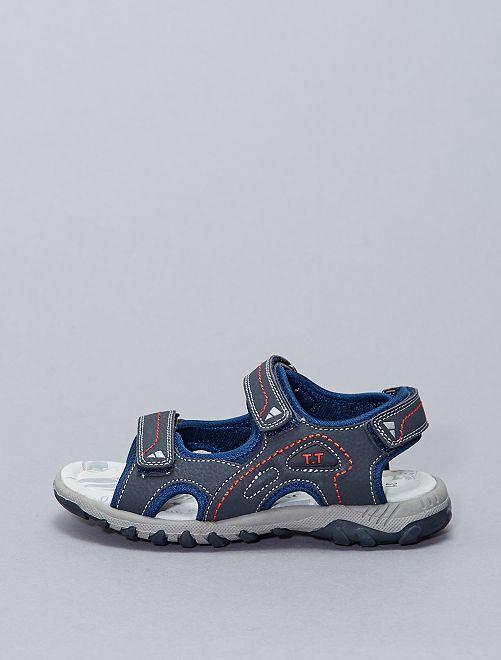 Sandalias de estilo deportivo con 3 velcros                             azul navy