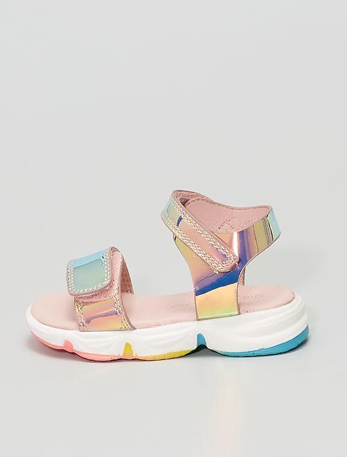 Sandalias de material sintético color holográfico                             ROSA
