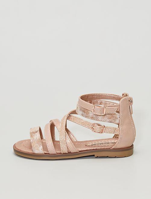 Sandalias de material sintético con brillos dorados                             rosa